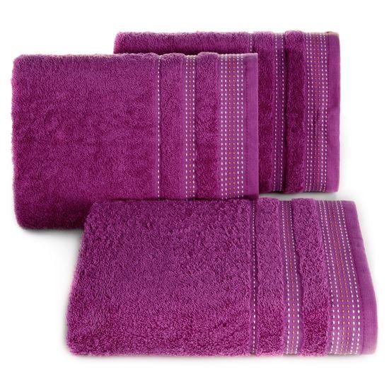 Ręcznik z bawełny z ozdobnym stebnowaniem 30x50cm - 30 X 50 cm - fioletowy