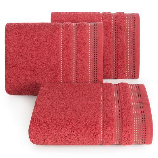Ręcznik z bawełny z ozdobnym stebnowaniem 30x50cm - 30 X 50 cm - czerwony