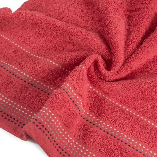 Ręcznik z bawełny z ozdobnym stebnowaniem 70x140cm - 70 X 140 cm - czerwony