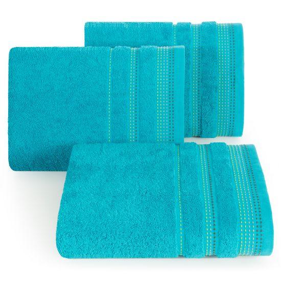 Ręcznik z bawełny z ozdobnym stebnowaniem 30x50cm - 30 X 50 cm - turkusowy