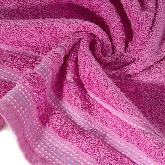Ręcznik z bawełny z ozdobnym stebnowaniem 70x140cm - 70 X 140 cm - różowy