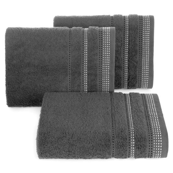 Ręcznik z bawełny z ozdobnym stebnowaniem 50x90cm - 50 X 90 cm - stalowy