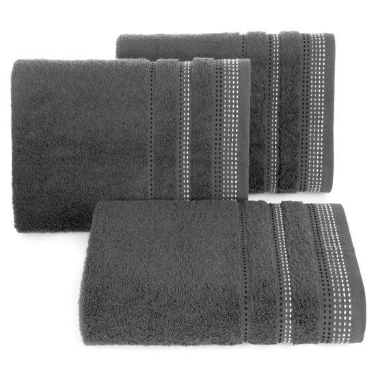 Ręcznik z bawełny z ozdobnym stebnowaniem 70x140cm - 70 X 140 cm - stalowy