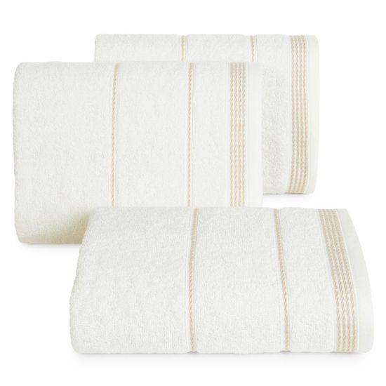 Ręcznik z bawełny ze sznurkowym zdobieniem 70x140cm - 70 X 140 cm - kremowy