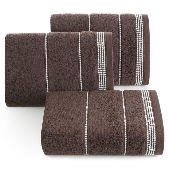 Ręcznik z bawełny ze sznurkowym zdobieniem 30x50cm - 30 X 50 cm - brązowy