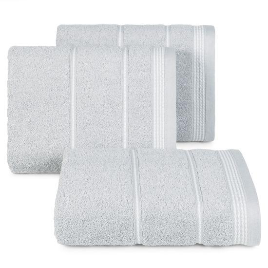 Ręcznik z bawełny ze sznurkowym zdobieniem 70x140cm - 70 X 140 cm - srebrny