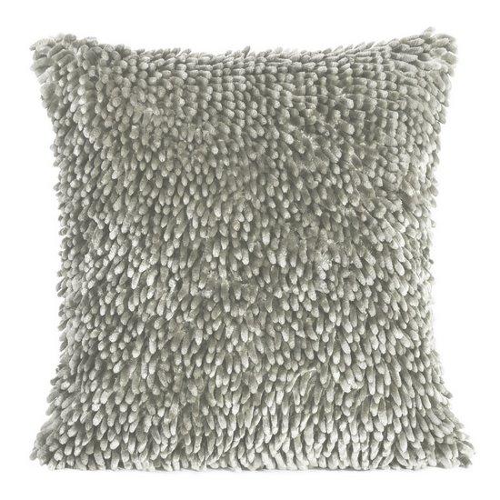 Srebrna POSZEWKA OZDOBNA shaggy 40x40 cm - 40 X 40 cm