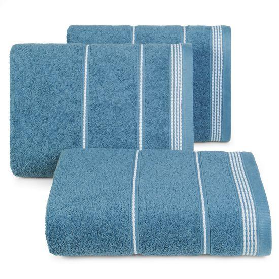Ręcznik z bawełny ze sznurkowym zdobieniem 50x90cm - 50 X 90 cm - granatowy