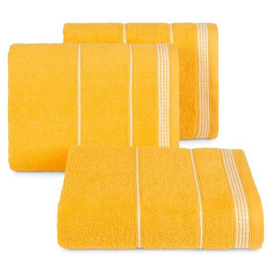 Ręcznik z bawełny ze sznurkowym zdobieniem 70x140cm - 70 X 140 cm - żółty