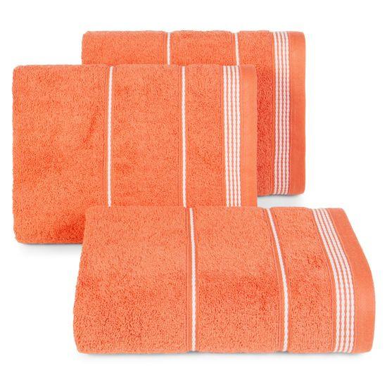 Ręcznik z bawełny ze sznurkowym zdobieniem 70x140cm - 70x140 - pomarańczowy