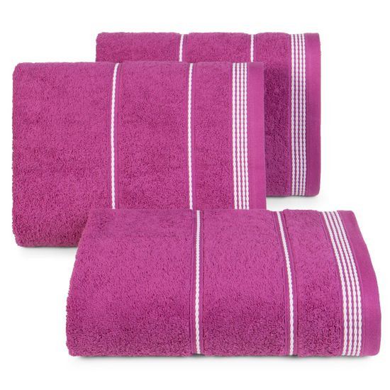 Ręcznik z bawełny ze sznurkowym zdobieniem 70x140cm - 70 X 140 cm - fioletowy
