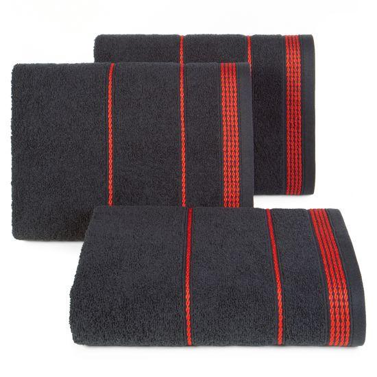 Ręcznik z bawełny ze sznurkowym zdobieniem 70x140cm - 70 X 140 cm - czarny