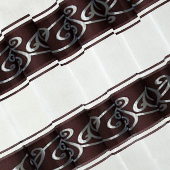 LISA BRĄZOWA ZASŁONA Z ORGANTYNY W PASY 140x250 cm NA PRZELOTKACH - 140 X 250 cm - brązowy/niebieski