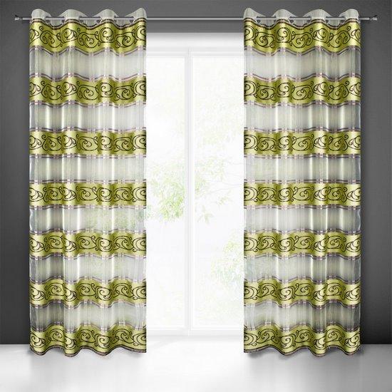 Zasłona w pasy z ornamentem organza+satyna zielony przelotki 140x250cm - 140x250