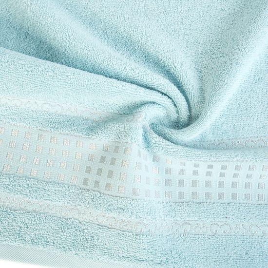 Ręcznik z haftowaną bordiurą w kosteczki błękitny 50x90 cm - 50 X 90 cm