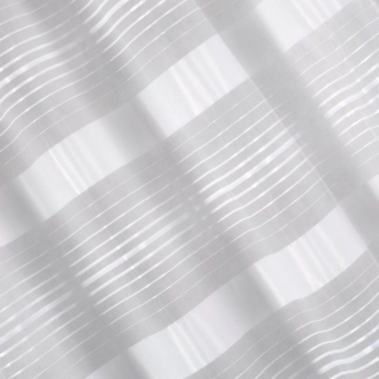 Zasłona w poziome białe pasy organza+atłas przelotki 140x250cm - 140x250