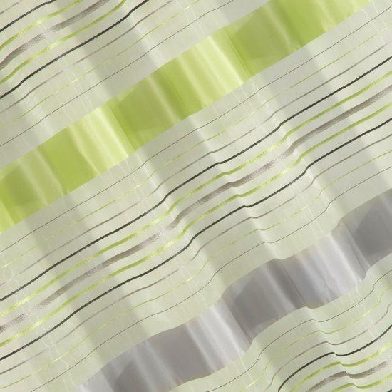 Zasłona w poziome zielone i szare pasy organza+atłas przelotki 140x250cm - 140x250
