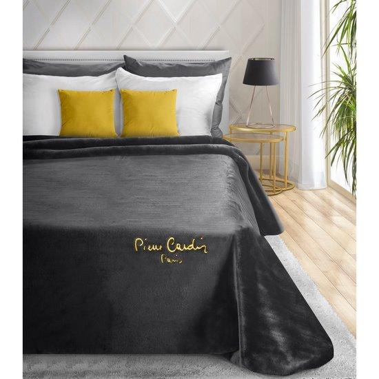 Czarny EKSKLUZYWNY KOC Clara od PIERRE CARDIN 220x240 cm z akrylem - 220 X 240 cm