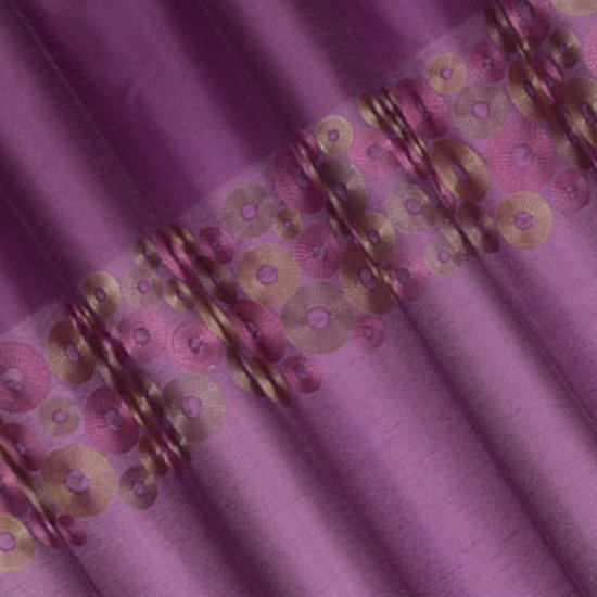 Śliwkowa zasłona z pasem haftowanych kółek 140x250 przelotki - 140x250