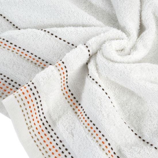 Ręcznik z bawełny z ozdobnym stebnowaniem 50x90cm - 50 X 90 cm - biały