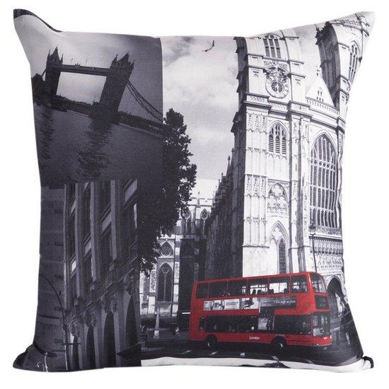 Poszewka na poduszkę 40 x 40 cm Londyn szara czerwona  - 40x40