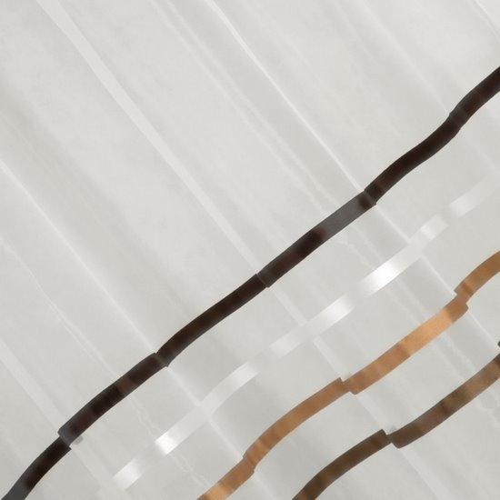 Zwiewna firanka brązowe paski 295x250 na taśmie - 140 X 250 cm
