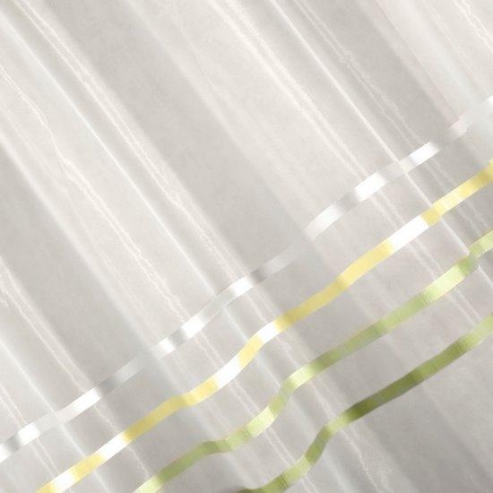 Zwiewna firanka paski kremowe i zielone 295x250 na taśmie - 295x250