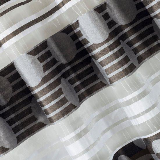 Zasłona poziome pasy wzorzysta przelotki popielato-czarna 140x250cm - 140x250 - czarny