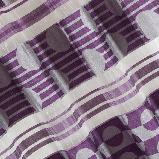 Zasłona poziome pasy wzorzysta przelotki fiolet 140x250cm - 140x250