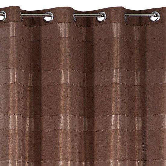 Zasłona w poziome pasy z połyskiem brązowa 140x250cm - 140 X 250 cm - brązowy