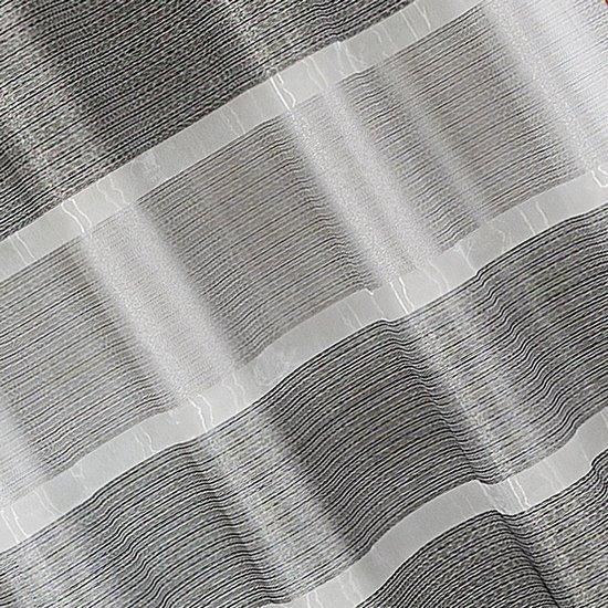 Zasłona w szerokie poziome pasy organza+atłas grafit przelotki 140x300cm - 140 X 300 cm