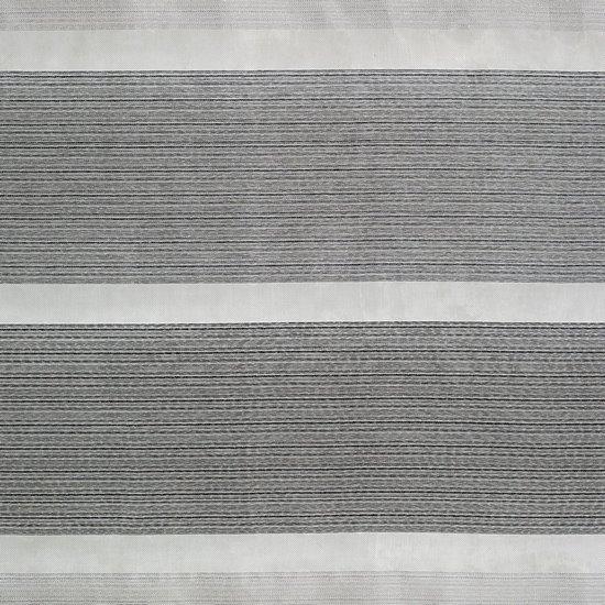 Zasłona w szerokie poziome pasy organza+atłas grafit przelotki 140x300cm - 140x300 - kremowy