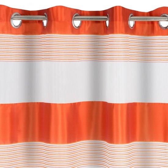Zasłona w poziome pasy organza+satyna pomarańczowa przelotki 140x250cm - 140x250 - pomarańczowy