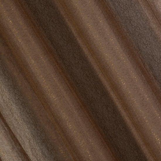 Zasłona dwuwarstwowa z delikatną siatką brązowa przelotki 135x300cm - 140 X 300 cm