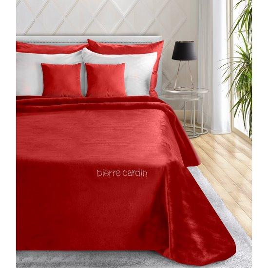 Czerwony ELEGANCKI KOC CORAL z kryształami PIERRE CARDIN 160x240 cm - 160 X 240 cm