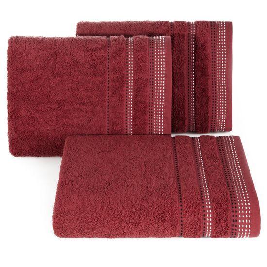 Ręcznik z bawełny z ozdobnym stebnowaniem 30x50cm - 30 X 50 cm - bordowy