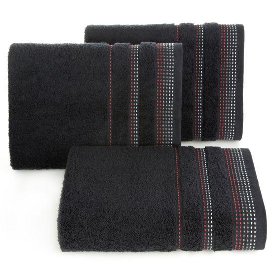 Ręcznik z bawełny z ozdobnym stebnowaniem 50x90cm - 50 X 90 cm - czarny