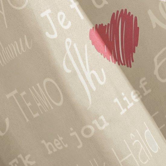 Zasłona beżowa nadrukowane serca i napisy 140x250 cm przelotki - 140 X 250 cm - beżowy/czerwony