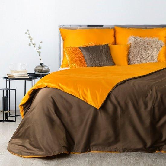 Komplet pościel z makosatyny 160 x 200 cm, 2 szt. 70 x 80 cm dwustronny brązowo-pomarańczowa - 160x200