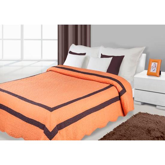 Narzuta pomarańczowa z brązowymi wstawkami 170x210cm - 170 X 210 cm - pomarańczowy
