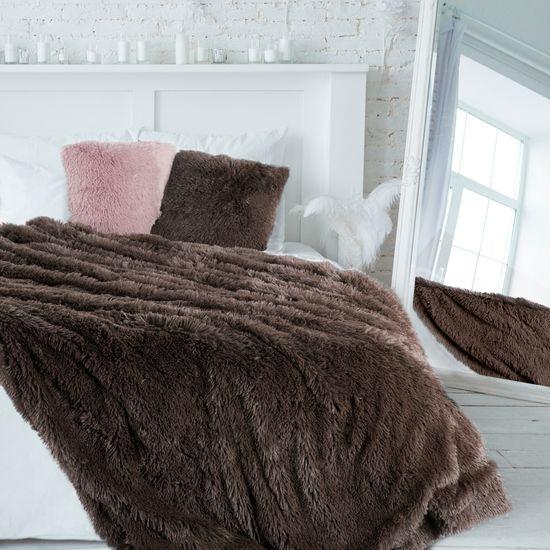 Brązowa NARZUTA FUTERKOWA na łóżko wersalkę 170x210 cm - 170 X 210 CM