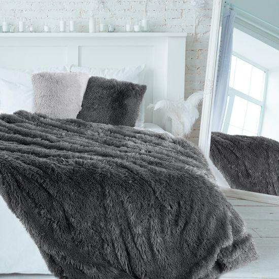 Stalowa NARZUTA FUTERKOWA na łóżko wersalkę 170x210 cm - 200 X 220 cm