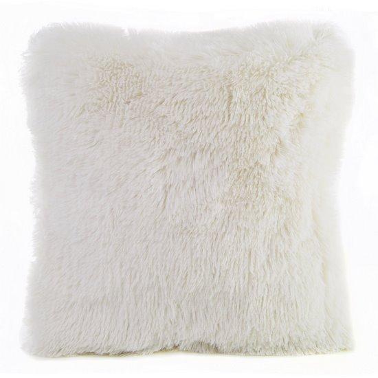 Poszewka na poduszkę 40 x 40 cm kremowa futerko  - 40x40