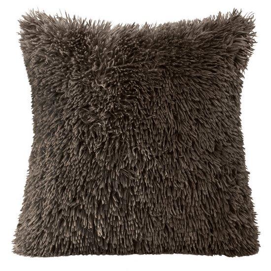 Poszewka na poduszkę 40 x 40 cm czarna futerko  - 40x40 - brązowy