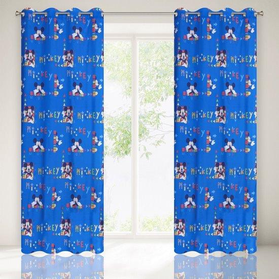 Niebieska zasłona dziecięca motyw Myszki Mickey 140x245 przelotki - 140x245