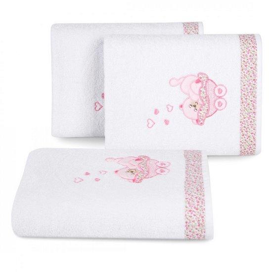 Ręcznik dziecięcy z aplikacją z aplikacją z różowym słonikiem 50x90cm - 50 X 90 cm