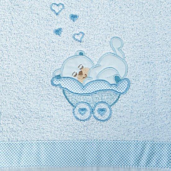 Ręcznik dziecięcy z aplikacją z aplikacją z niebieskim misiem 50x90cm - 50x90