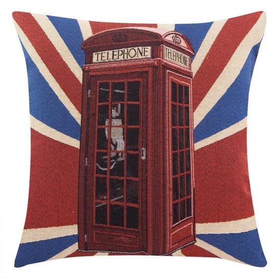 Poszewka motyw londyn czerwononiebieski 45 x 45 cm - 45x45