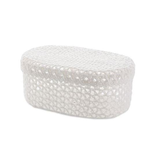 Koszyczek koronkowy z wieczkiem 25 x 16 x 10 cm 100% bawełna - 25 X 16 X 10 cm - biały