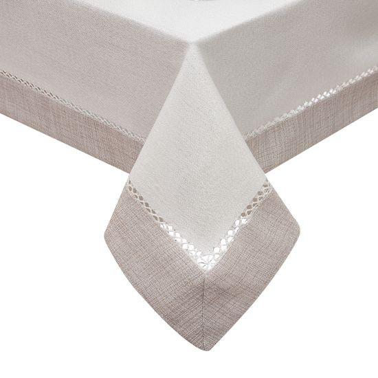 Obrus z mereżką biało - srebrny 150 x 260 cm - 150x260